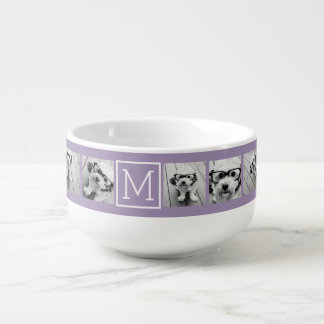 Lavender Instagram Photo Collage Custom Monogram Soup Mug
