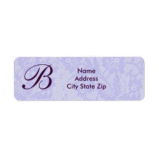 Lavender lace monogram return address label