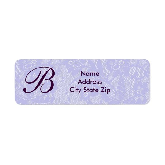 Lavender lace monogram return address label