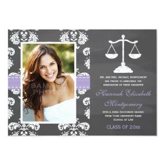 LAVENDER LAW SCHOOL CHALKBOARD GRADUATION 13 CM X 18 CM INVITATION CARD