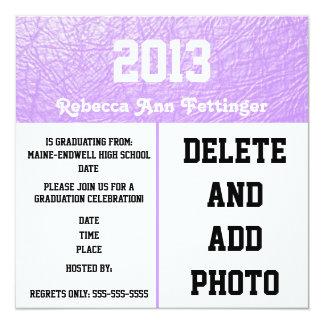 Lavender leather texture graduation invitations