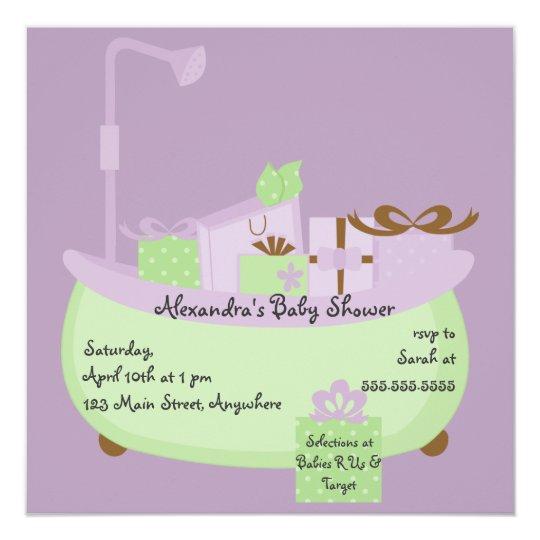 Lavender & Lime Tub Baby Shower Invitation