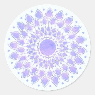 Lavender Lotus Floral Mandala Classic Round Sticker