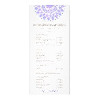 Lavender Lotus Natural Spa Salon Price List Menu Personalised Rack Card