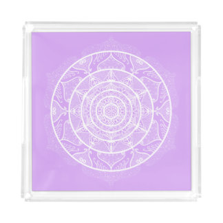 Lavender Mandala Acrylic Tray