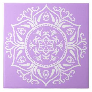 Lavender Mandala Ceramic Tile