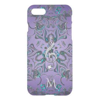 Lavender Metallic Monogram Mandala Music Clef iPhone 8/7 Case
