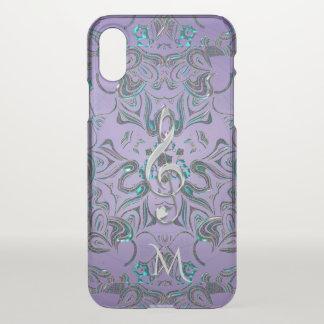 Lavender Metallic Monogram Mandala Music Clef iPhone X Case