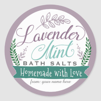 Lavender Mint Bath Salt Labels for Homemade gift