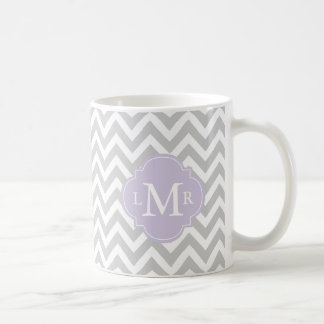 Lavender Monogram and Chevrons Pattern Coffee Mug
