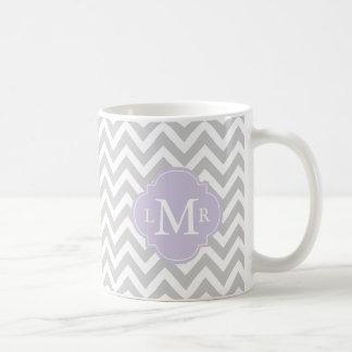 Lavender Monogram and Chevrons Pattern Coffee Mug