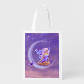 Lavender Moon Butterfly Fairy Reusable Grocery Bag