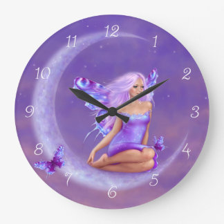 Lavender Moon Fairy Wall Clock