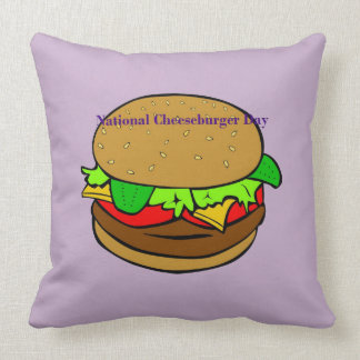 Lavender National Cheeseburger Day Pillow