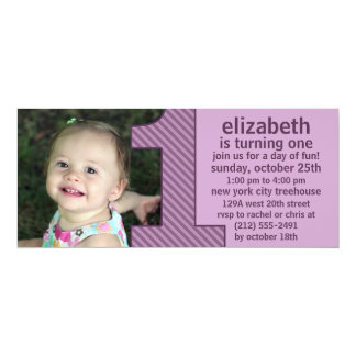 Lavender One Is Fun Photo First Birthday Party 10 Cm X 24 Cm Invitation Card