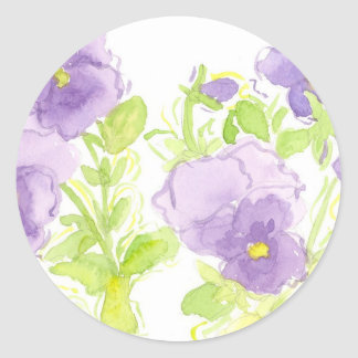 Lavender Pansy Watercolor Cottage Garden Classic Round Sticker