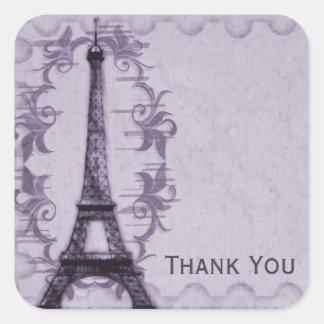 Lavender Paris Grunge Thank You Sticker