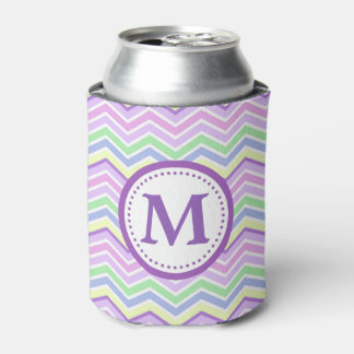 Lavender Pastel Stripes Chevron Monogram Can Cooler