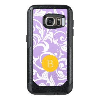 Lavender Peach Floral Wallpaper Swirl Monogram OtterBox Samsung Galaxy S7 Case