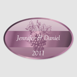 Lavender Personalized Wine Labels Oval Sticker