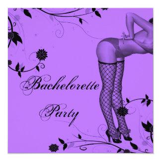 Lavender Pin Up Bachelorette Party 13 Cm X 13 Cm Square Invitation Card