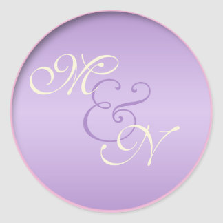 "Lavender, Pink, and Ivory Monogrammed 1.5"" Sticker"