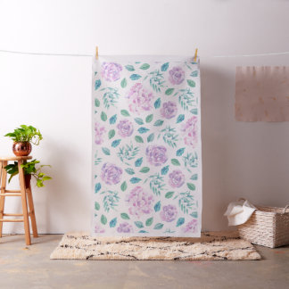 Lavender Pink Flowers & Green Leafs Pattern Fabric