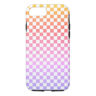 Lavender Pink Gingham Check Ombre iPhone 7 Case