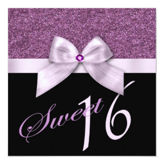 Lavender Pink Glitter Gem Sweet Sixteen Birthday Card
