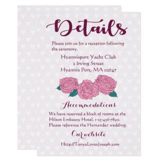Lavender Pink Roses & Hearts Details Wedding Card