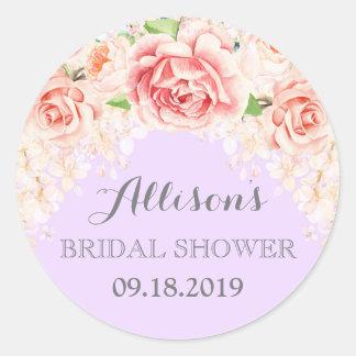 Lavender Pink Watercolor Flowers Bridal Shower Round Sticker