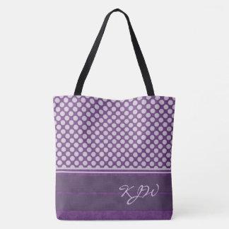 Lavender Polka Dot on Plum Monogram Tote Bag