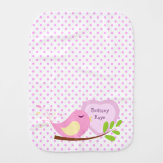 Lavender Polka Dot Pink Bird Personalized Burp Cloth
