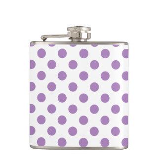 Lavender polka dots on white hip flask