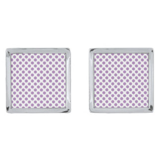 Lavender Polka Dots Silver Finish Cufflinks