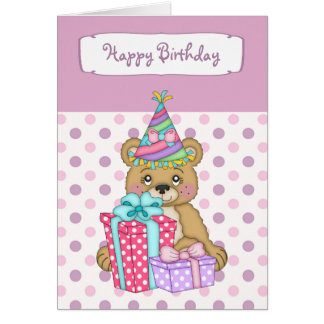 Lavender Polkadot Bear Happy Birthday Card