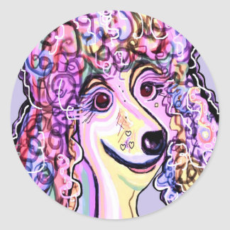 Lavender Poodle Classic Round Sticker