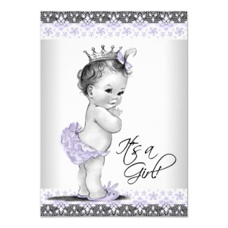 Lavender Purple and Gray Vintage Baby Girl Shower 13 Cm X 18 Cm Invitation Card