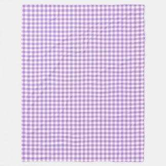 Lavender Purple and White Gingham Checks Fleece Blanket