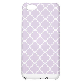 Lavender purple and White Quatrefoil Pattern Case For iPhone 5C