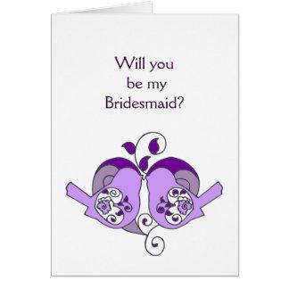 Lavender Purple  Bird Floral Heart Bridesmaid Card