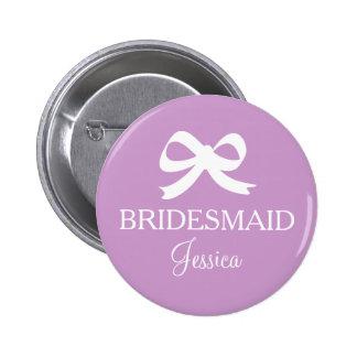 Lavender purple bridemaid button for wedding party