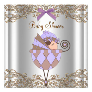 Lavender Purple Brown Lace Girl Baby Shower Custom Invites