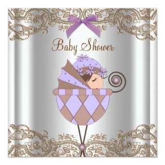 "Lavender Purple Brown Lace Girl Baby Shower 5.25"" Square Invitation Card"