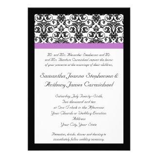 Lavender Purple Damask Black White Custom Announcements