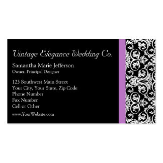 Lavender Purple Damask Black/White Pack Of Standard Business Cards