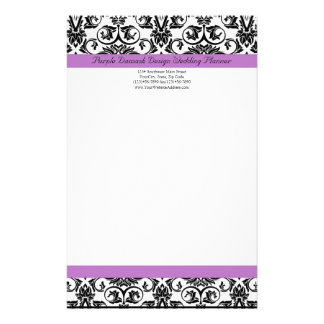 Lavender Purple Damask Black/White Stationery