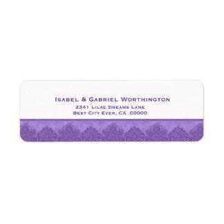 Lavender Purple Damask Trim Wedding Ver D009 Return Address Label