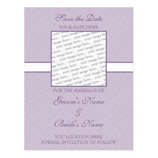 Lavender Purple Eggshell Save the Date Postcard