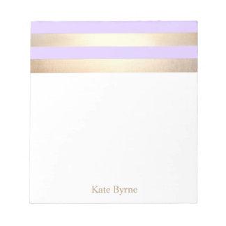 Lavender Purple Faux Gold Foil Stripes Notepad